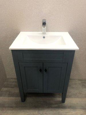 《復古藍系列》BU-F9060 洗臉盆 浴櫃 落地櫃 含面盆龍頭(全配) 【寬61*深47*高82cm 】 PVC發泡板