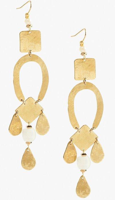 大降價!全新美國品牌 Lucky Brand 華麗金色垂墜式穿式耳環,只有一件!低價起標無底價!本商品免運費!