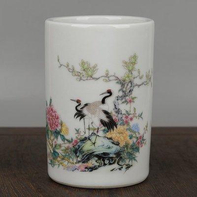 ㊣姥姥的寶藏㊣大清光緒年制款貼花釉上粉彩松鶴迎春仙鶴花鳥紋小筆筒