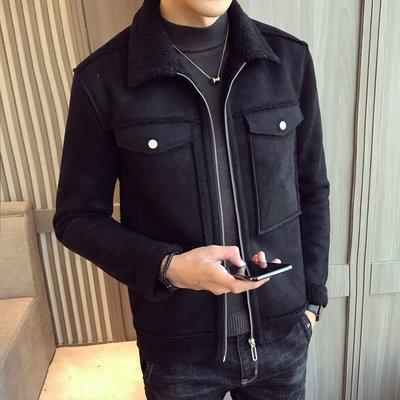 【MOZ潮流男装】冬季青少年男士英倫風修身時尚短款長袖百搭加厚夾克外套