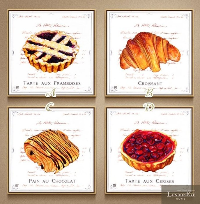 【 LondonEYE 】小法國系列-春日派對X時尚甜點店 魔性可頌/莓果塔 浪漫手繪風格X現代細邊框裝飾畫PT108