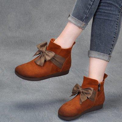 拓荒者革製所。真皮短筒女靴平底手工復古軟底單靴舒適牛皮森系文藝磨砂牛皮蝴蝶結靴子