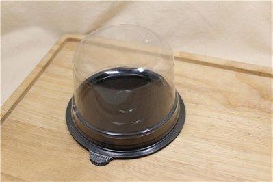 日本圓形盒_黑色底_10入_IK116-75H◎日本.圓形.圓底.圓蓋.塑膠盒.蛋糕.餅乾.甜點.包裝.透明.裝飾