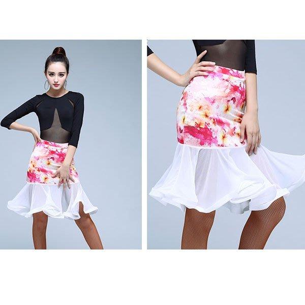 5Cgo【鴿樓】會員有優惠 534644222026 新款夏季拉丁裙成人練習下裝網紗拼接舞蹈裙半身裙