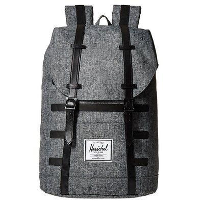 Herschel 高階 Retreat 大型 Offset 灰黑 黑色 條紋 真皮帶 帆布 筆電 後背包 [現貨]