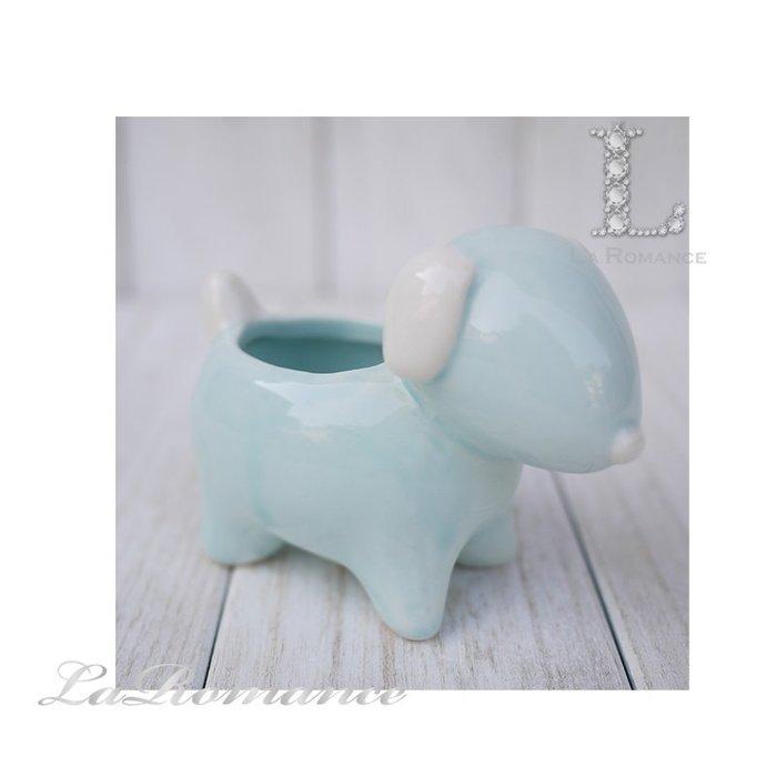 【義大利 EDG 特惠系列】 垂耳小狗陶瓷迷你花器 (藍) / 盆栽 / 庭院 / 童趣