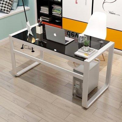 哆啦本鋪 電腦臺式桌鋼化玻璃辦公桌現代簡約學生書桌家用經濟型寫字臺桌子D655