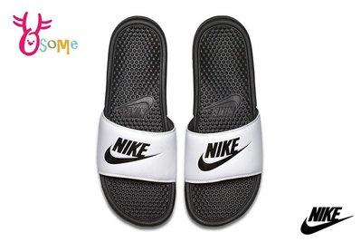 NIKE BENASSI JDI 拖鞋 成人男女款 情侶鞋 紓壓 按摩顆粒 運動拖鞋 P7137#黑白 OSOME奧森鞋業