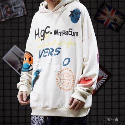 連帽T恤 男 設計感立體印花 寬鬆 慵懶 原宿風 嘻哈 百搭款