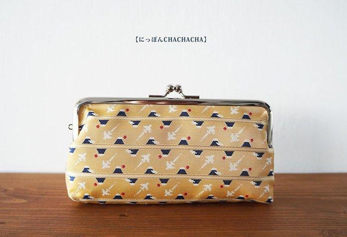MH選物室【 にっぽん CHACHACHA 】日本製 經典 金黃 富士山 長型 珠釦 口金 零錢包 化妝包