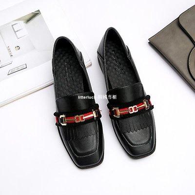 litterluck-韓國專櫃黑色小皮鞋女春鞋工作鞋英倫學院風粗跟瓢鞋大碼女鞋40 41 43單鞋