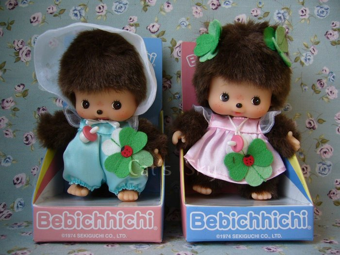 《Cat  Sky》日本.超可愛Bebi Monchhichi幸運草嬰兒夢奇奇(一對出售).情人節禮物