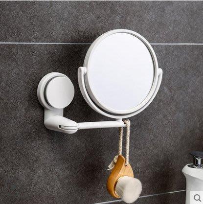 衛生間鏡子貼墻小免打孔宿舍梳妝浴室鏡放大吸盤折疊化妝鏡壁掛女