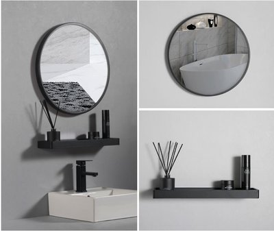 【摩爾衛浴more】黑、白色工業風圓鏡組合(70公分)化妝鏡、廁所浴室鏡組時尚、好安裝、美觀穩固-單鏡子