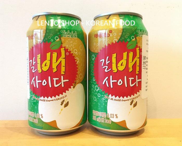 LENTO SHOP - 韓國 海太 HAITAI 水梨蘇打 水梨汽水 梨子氣泡飲 Soda 355ml/罐