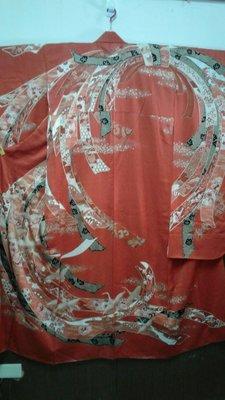 [兔尾屋   和服專賣]  振袖 大紅色系飛鶴圖案