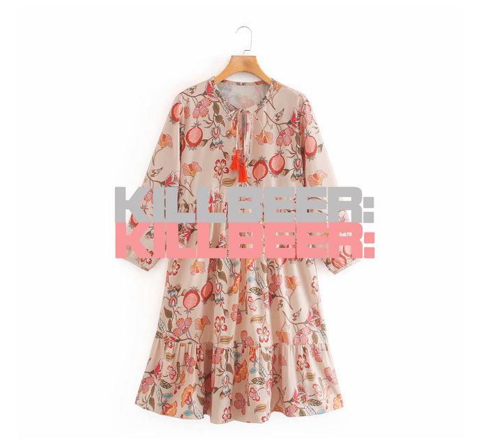 KillBeer:中國風的奇幻異想之 歐美復古東方風情花朵印花裸膚亮橘流蘇寬鬆感連身裙洋裝A080402