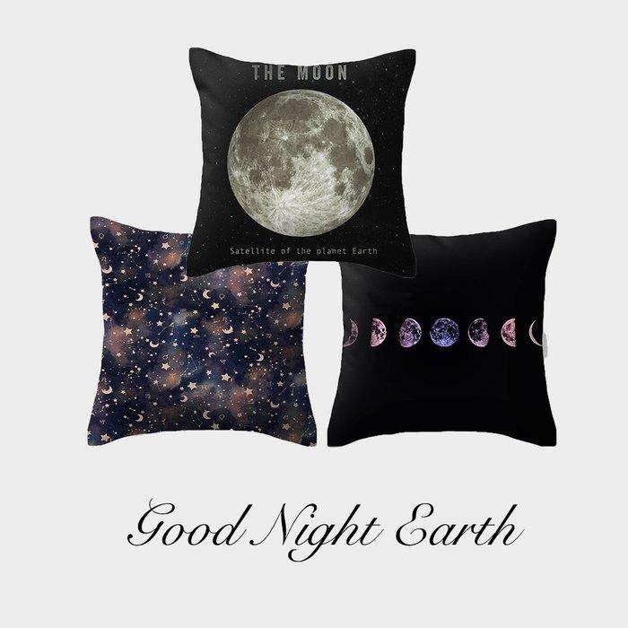 C - R - A - Z - Y - T - O - W 月球月亮星球地球抱枕雙面圖案抱枕靠枕北歐抱枕靠枕黑色晚安抱枕