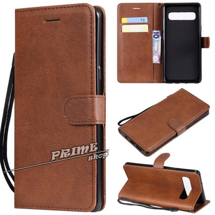 Prime Shop 三星S10 PLUS S10E S105G 6.7純色手機皮套保護軟殼翻蓋插卡支架 裝飾配件禮物