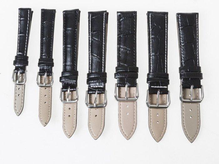 小牛皮鱷魚紋錶帶 真皮針扣手錶帶 – 黑 - 多尺寸可選