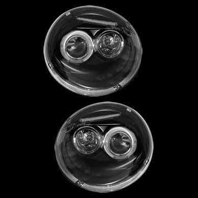 ☆小傑車燈家族☆全新外銷福斯BEETLE金龜車黑框LED燈眉光圈大燈一組 4500