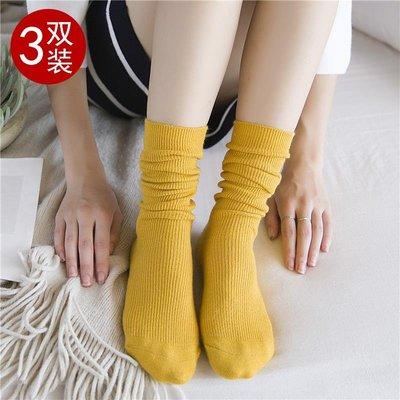 3雙百搭韓國堆堆襪子百搭學生日系復古中筒襪純棉女短襪潮條紋