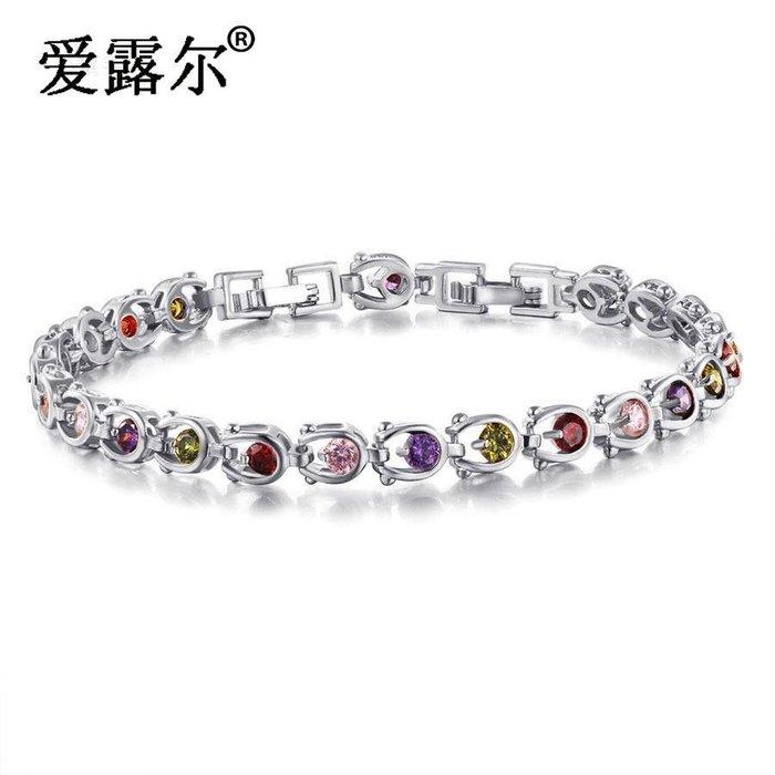 時尚浪漫女性彩色水晶鍍K金手鏈韓版立方氧化鋯飾品 新麗小舖