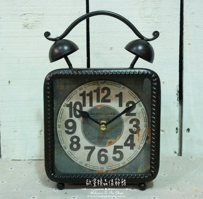 ~*歐室精品傢飾館*~Loft工業 美式鄉村 鐵製 仿舊 復古 數字 雙耳造型 桌鐘 時鐘 黑色 擺飾 裝飾~新款上市~