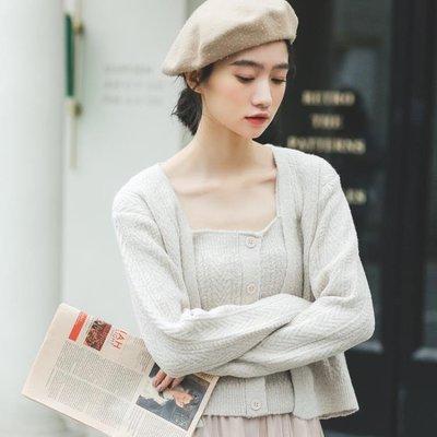 下標88折 菱紋吊帶兩件套針織衫女2019早春新款韓版清新修身百搭開襟外套潮
