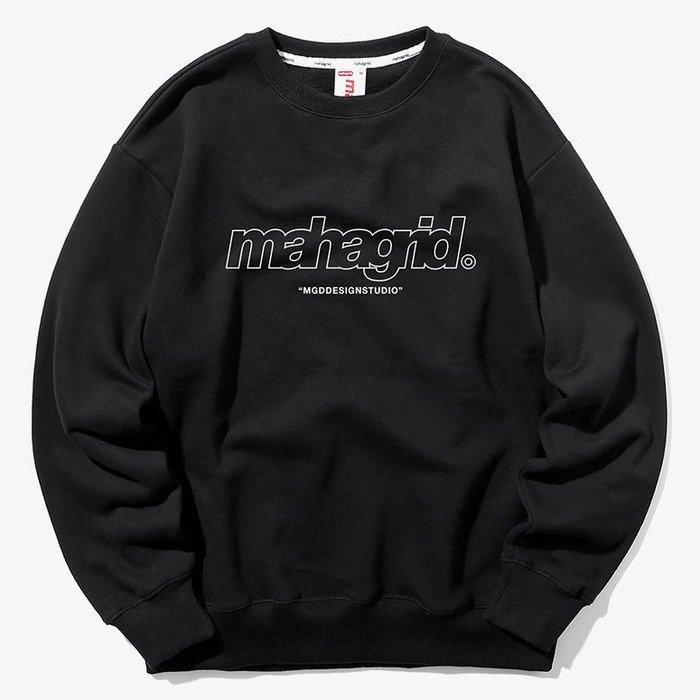 【QUEST】MAHAGRID - THIRD LOGO CREWNECK 框線LOGO大學T 黑