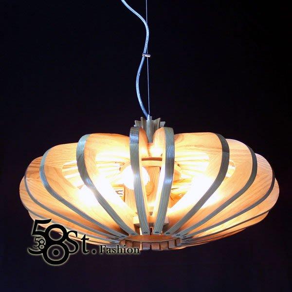 【58街】設計師款式「天空之城木製造型木頭吊燈」複刻版。GH-299