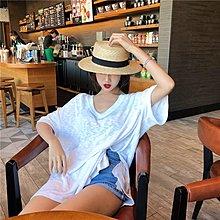 夏季2018新款氣質百搭小心機V領中長款寬松休閑純色開叉短袖上衣