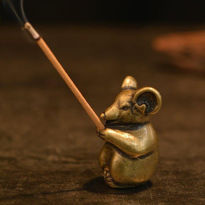 生肖老鼠純銅香插 線香香爐家居工藝品茶寵擺件茶托架