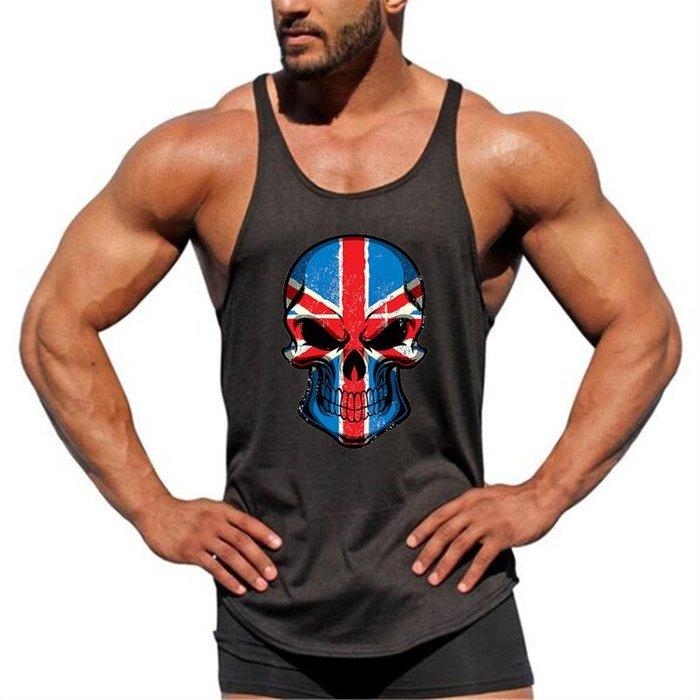 T88 實穿照 紅米骷顱頭 細肩帶 背心 健身背心 重訓背心 男生背心 低胸背心 挖背背心 健身服飾 運動服飾