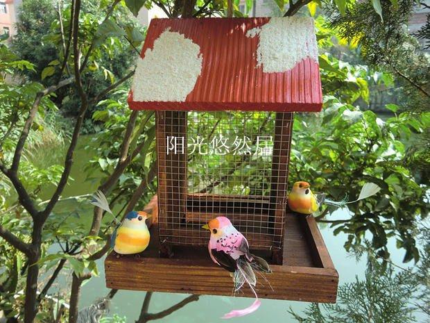 戶外喂鳥器  鳥窩鳥屋 木制喂鳥器 野外鳥類招引
