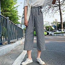復古風簡約女裝百搭學生女裝高腰顯瘦系帶九分闊腿褲