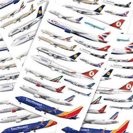 航空公司 飛機模型 ☛可反覆貼黏 無痕 防水 貼畫 旅行箱 行李箱貼紙 酷炫滑板 牆壁 冰箱貼