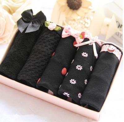 ☜男神閣☞日系少女內褲性感蕾絲神秘黑色中低腰三角內褲女士內褲禮盒裝