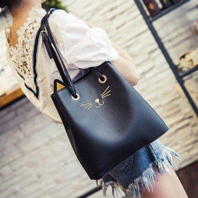 新款韓版簡約單肩斜跨包手提包大包包女士水桶包女包