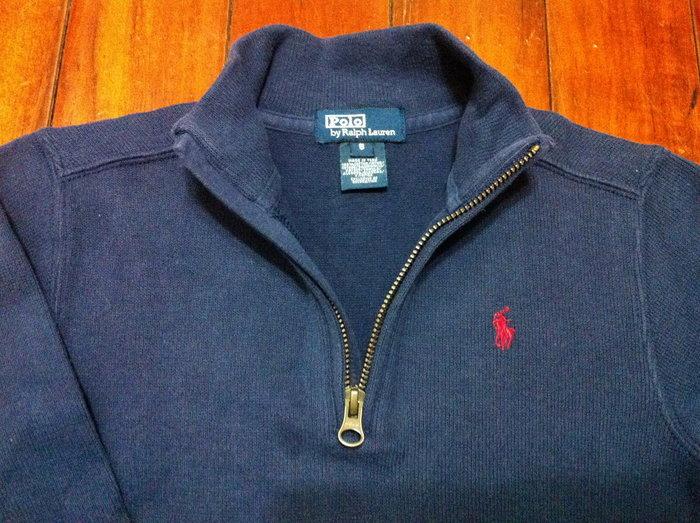二手美國Polo Ralph Lauren 藍色繡馬厚棉立領長袖上衣 6T