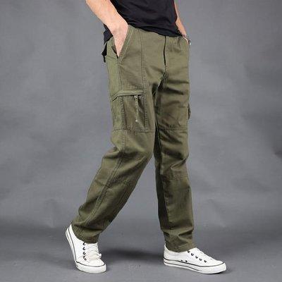 寬鬆超彈力耐磨多口袋工作褲 直筒褲 棉褲 休閒褲