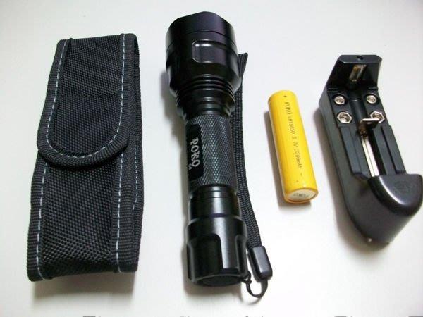 【POKO】 CREE T6- C8戰術手電筒 五段燈光檔 900流明比Q3. Q5,R2.R5還亮