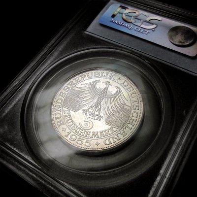西德 1955年 5 馬克 Ludwig von Baden紀念銀幣/ PCGS MS62 鑑定幣