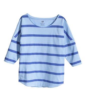 H&M 大女童藍色條紋上衣 12-14Y