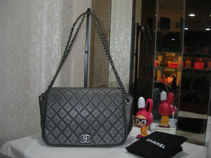 典精品 Chanel  真品 銀 灰色  菱格 雙C 下蓋  風琴包 肩背 斜背包 雷標21  現貨