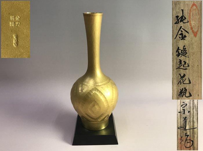 【藏舊尋寶屋】老日本 昭和年間 名家宗道造「純金 鎚起花瓶」  附原裝木箱 300g〈花道 收藏 極上品〉