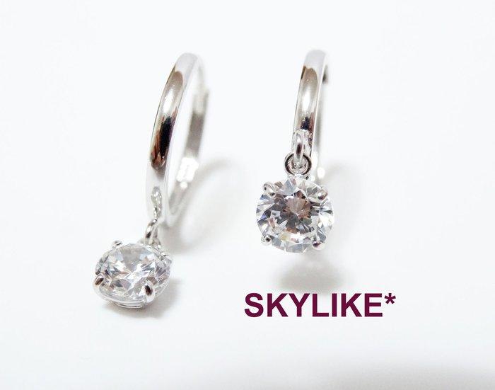 *SKYLIKE*最經典-韓國進口585/14K白K金、玫瑰K金、黃K金亮面垂0.5克拉鋯石易扣耳環,TO-92744k
