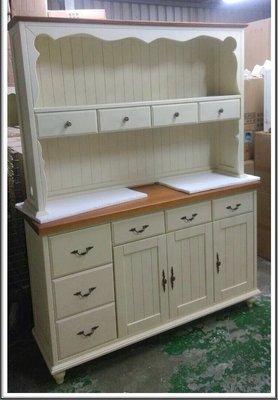 白色雙色5尺實木開放式餐櫃 碗盤櫃上下...