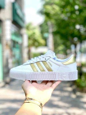 【Cheers】Adidas Sambarose 女鞋 增高 白金 金色 休閒鞋 白色 EE4681 歐美限定色