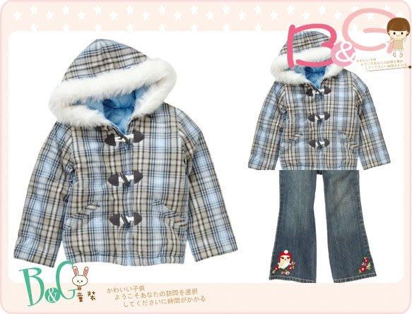 【B& G童裝】正品美國進口Crazy8牛角扣拉鍊藍色格子長袖鋪棉連帽外套M,L號6-8,8-10yrs
